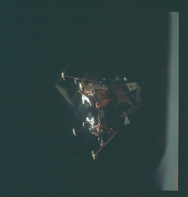 AS11-44-6577 - Apollo 11 - Apollo 11 Mission image - View of Lunar Module separation from the Command Module
