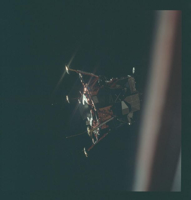 AS11-44-6579 - Apollo 11 - Apollo 11 Mission image - View of Lunar Module separation from the Command Module