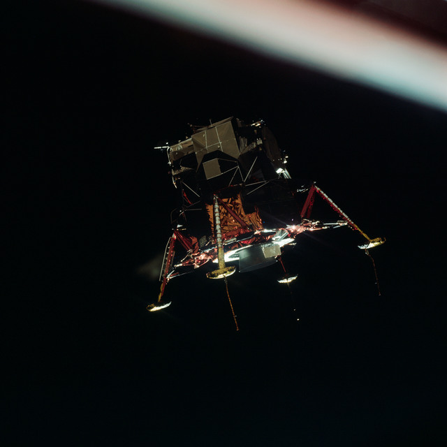 AS11-44-6581 - Apollo 11 - Apollo 11 Mission image - View of Lunar Module separation from the Command Module