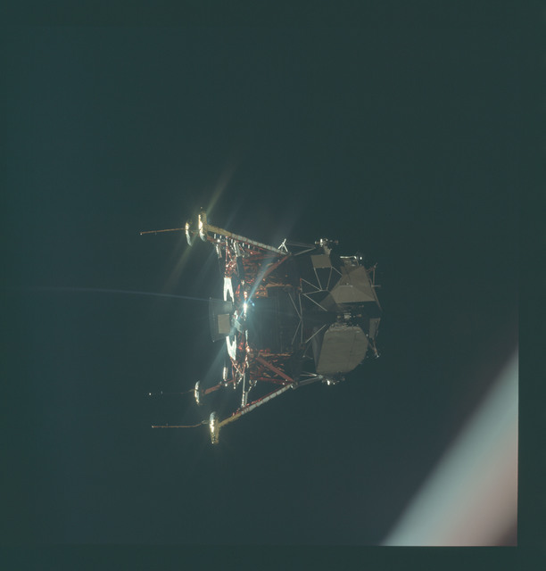 AS11-44-6582 - Apollo 11 - Apollo 11 Mission image - View of Lunar Module separation from the Command Module