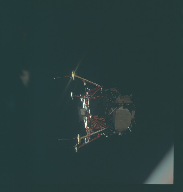 AS11-44-6583 - Apollo 11 - Apollo 11 Mission image - View of Lunar Module separation from the Command Module
