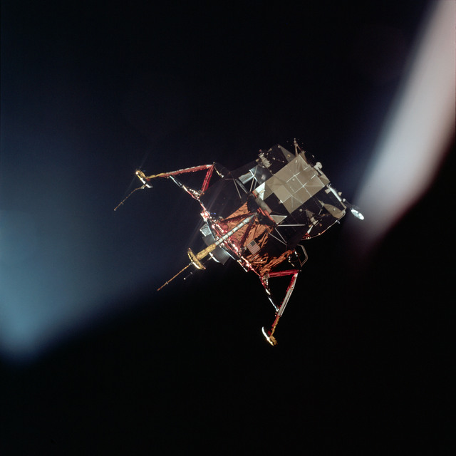 AS11-44-6584 - Apollo 11 - Apollo 11 Mission image - View of Lunar Module separation from the Command Module
