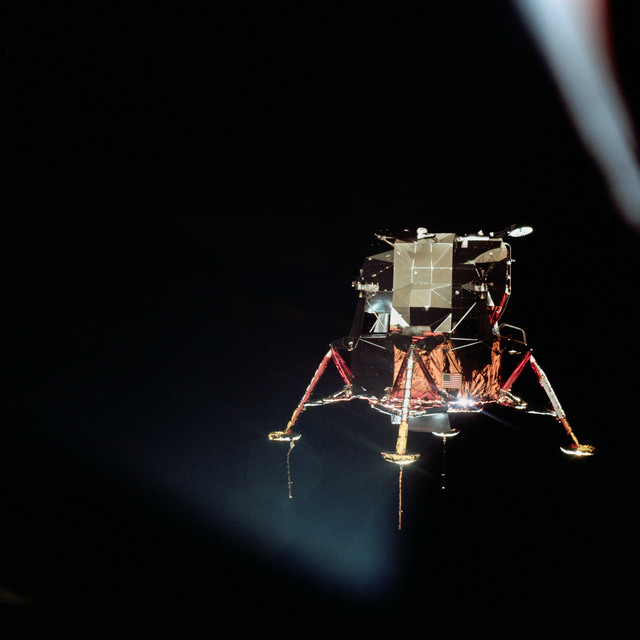 AS11-44-6585 - Apollo 11 - Apollo 11 Mission image - View of Lunar Module separation from the Command Module