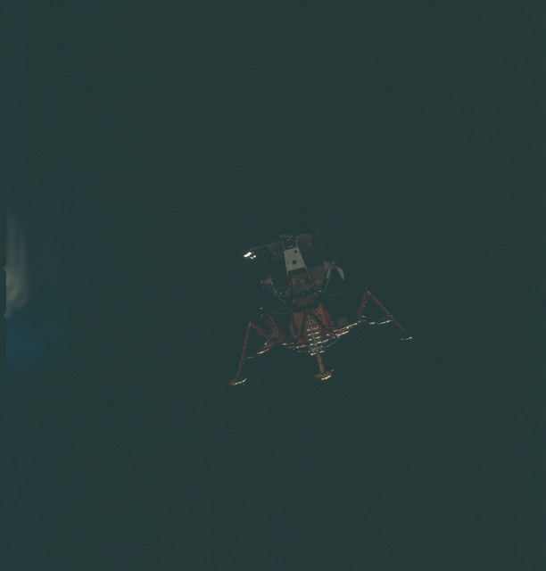 AS11-44-6588 - Apollo 11 - Apollo 11 Mission image - View of Lunar Module separation from the Command Module