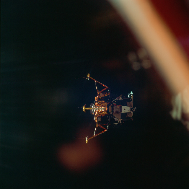 AS11-44-6595 - Apollo 11 - Apollo 11 Mission image - View of Lunar Module separation from the Command Module