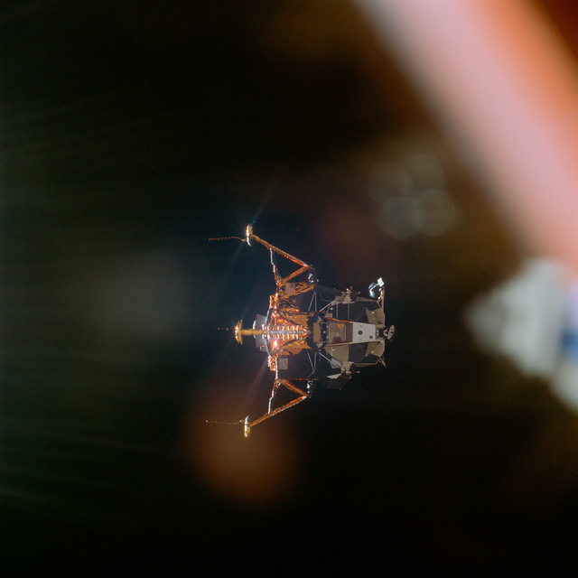 AS11-44-6598 - Apollo 11 - Apollo 11 Mission image - View of Lunar Module separation from the Command Module