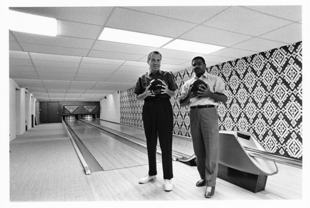 Richard Nixon Bowling with Frank Blair in the White House Bowling Alley