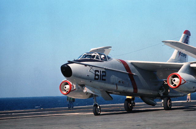An A-3D Skywarrior aircraft taxis aboard the attack aircraft carrier USS AMERICA (CV 66)