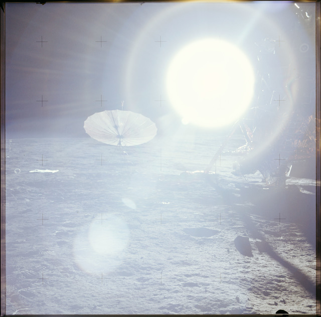 AS12-46-6739 - Apollo 12 - Apollo 12 Mission image  - Panoramic view of lunar surface around the Lunar Module (LM)