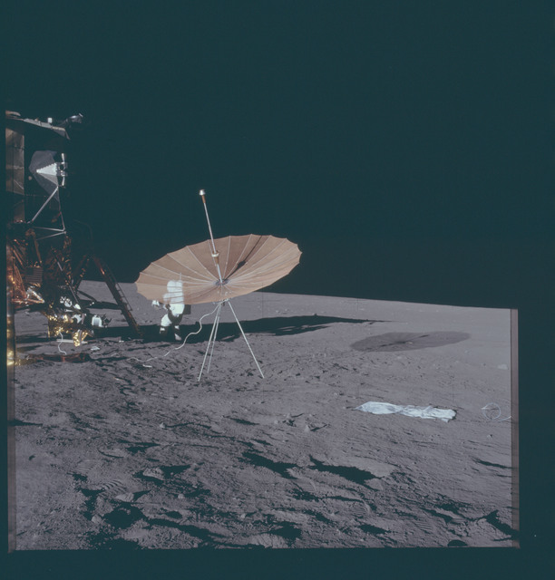 AS12-46-6750 - Apollo 12 - Apollo 12 Mission image  - Panoramic view of lunar surface around the Lunar Module (LM)