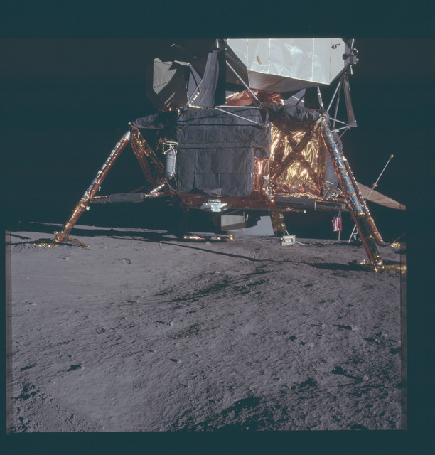 AS12-46-6777 - Apollo 12 - Apollo 12 Mission image  - View of area under the Lunar Module (LM) and around the footpads