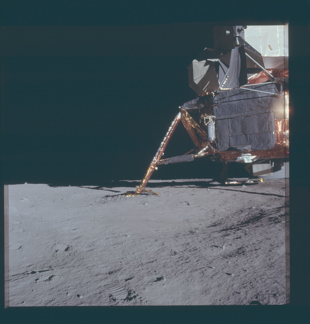AS12-46-6778 - Apollo 12 - Apollo 12 Mission image  - View of area under the Lunar Module (LM) and around the footpads