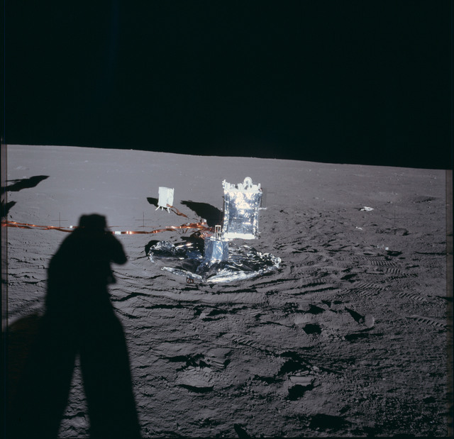 AS12-47-6918 - Apollo 12 - Apollo 12 Mission image  - View of part of the deployed Apollo Lunar Surface Experiment Package (ALSEP)