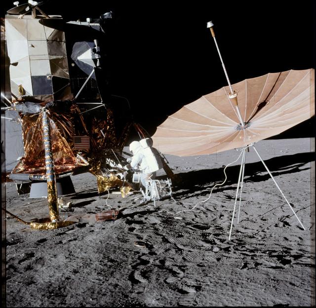 AS12-47-6988 - Apollo 12 - Apollo 12 Mission image  - Lunar surface near lunar module