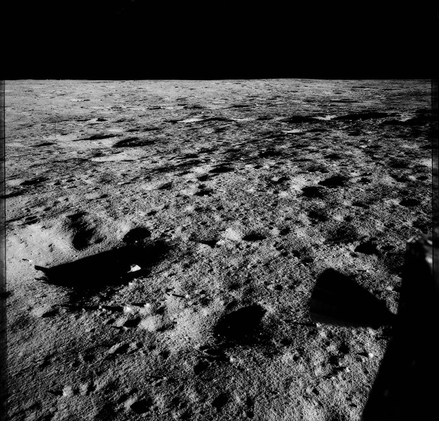 AS12-48-7031 - Apollo 12 - Apollo 12 Mission image  - View of the lunar surface from the Lunar Module (LM)