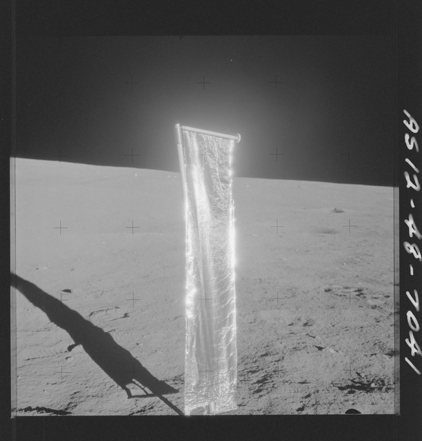 AS12-48-7041 - Apollo 12 - Apollo 12 Mission image  - View of the Solar Wind Composition Experiment on the Lunar surface