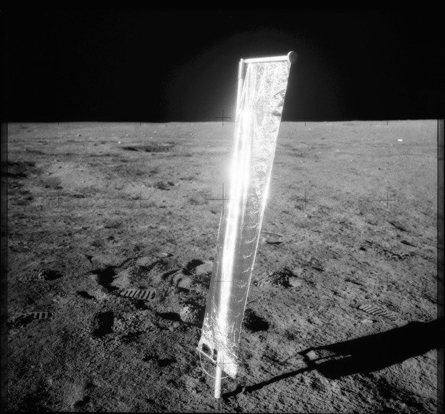AS12-48-7042 - Apollo 12 - Apollo 12 Mission image  - View of the Solar Wind Composition Experiment on the Lunar surface
