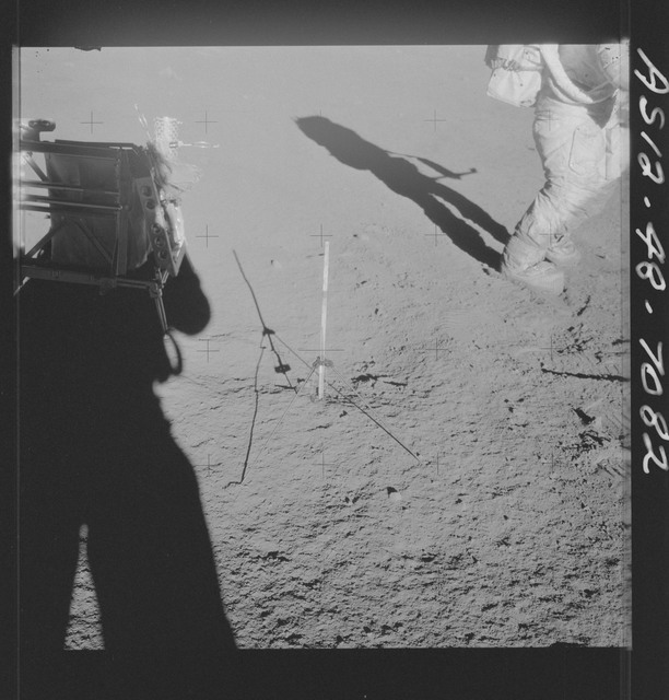 AS12-48-7082 - Apollo 12 - Apollo 12 Mission image  - View of a Tri-pod holder for a core tube sampler and hand tool kit