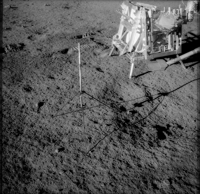 AS12-48-7083 - Apollo 12 - Apollo 12 Mission image  - View of a Tri-pod holder for a core tube sampler and hand tool kit