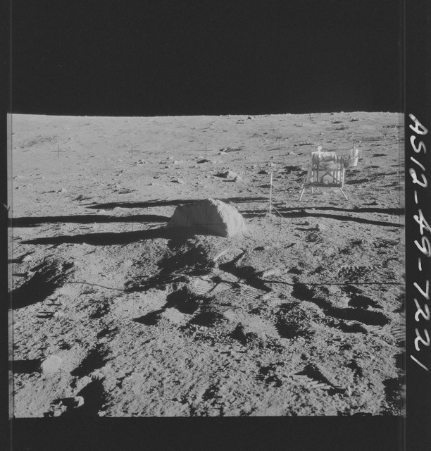 AS12-49-7221 - Apollo 12 - Apollo 12 Mission image  - View of a core sampler and the Lunar Surface Hand Tool Kit