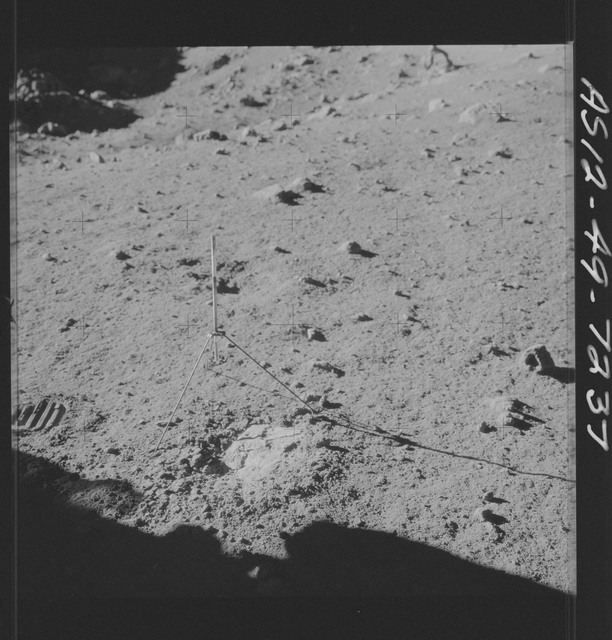 AS12-49-7237 - Apollo 12 - Apollo 12 Mission image  - View of a Core Sampler in Bench Crater
