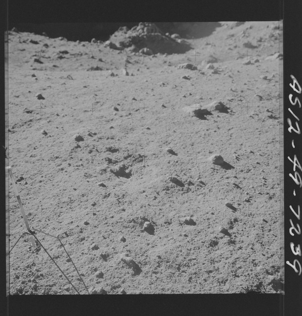 AS12-49-7239 - Apollo 12 - Apollo 12 Mission image  - View of a Core Sampler in Bench Crater