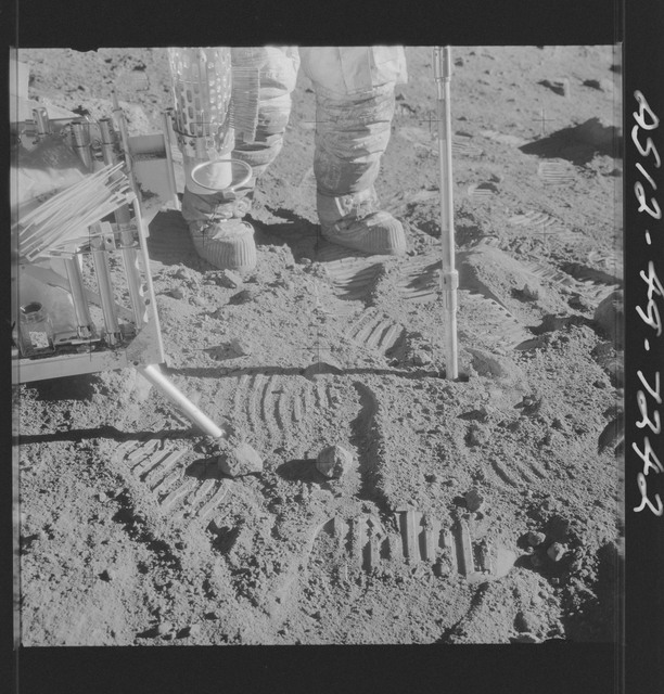 AS12-49-7242 - Apollo 12 - Apollo 12 Mission image  - View of a Core Sampler and the Hand Tool Kit.