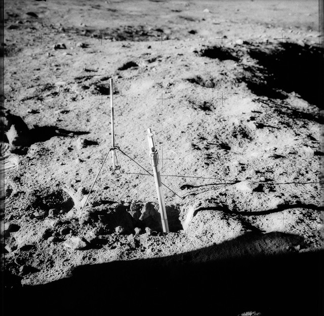 AS12-49-7279 - Apollo 12 - Apollo 12 Mission image  - View of a Core Sampler near Halo Crater