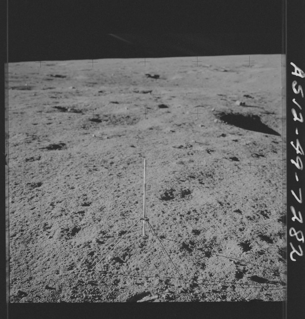 AS12-49-7282 - Apollo 12 - Apollo 12 Mission image  - View of a Core Sampler near Halo Crater
