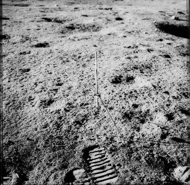 AS12-49-7284 - Apollo 12 - Apollo 12 Mission image  - View of a Core Sampler near Halo Crater