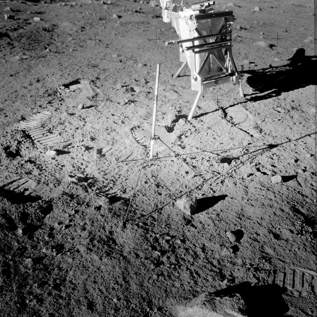 AS12-49-7314 - Apollo 12 - Apollo 12 Mission image  - View of a Core Sampler near Halo Crater