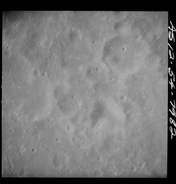 AS12-54-7982 - Apollo 12 - Apollo 12 Mission image  - Near vertical stereo strip view southeast of Crater Kiess (Crater 263)