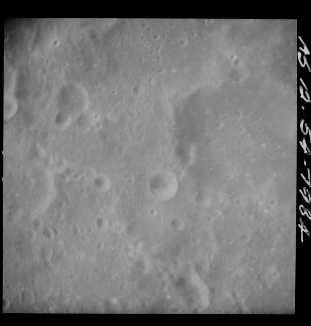 AS12-54-7984 - Apollo 12 - Apollo 12 Mission image  - Near vertical stereo strip view south of Crater Kiess (Crater 263)