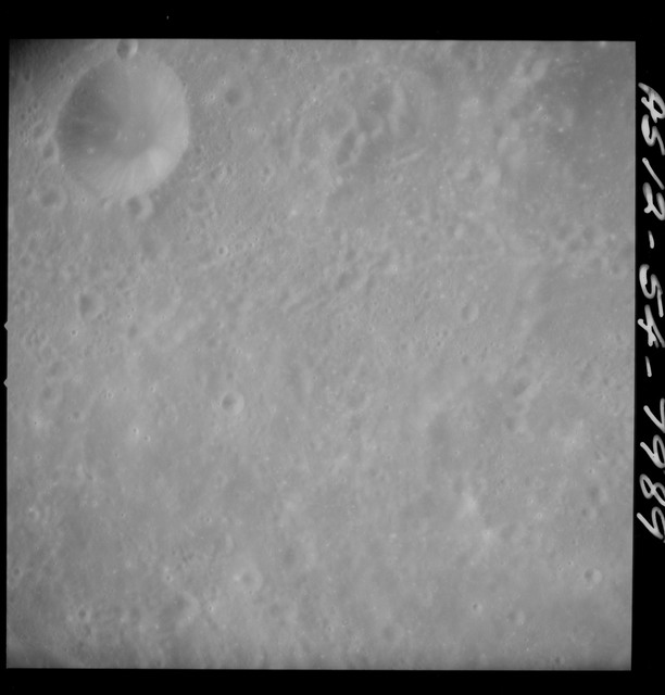 AS12-54-7989 - Apollo 12 - Apollo 12 Mission image  - Near vertical stereo strip view southwest of Crater Kiess (Crater 263)