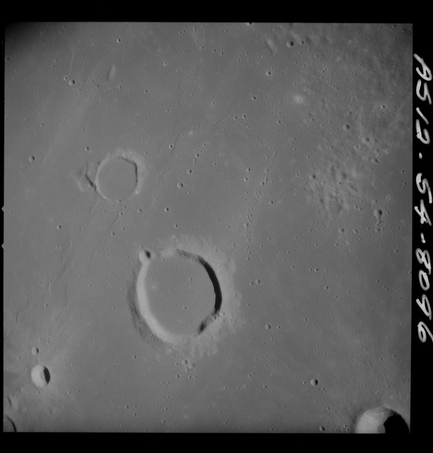 AS12-54-8096 - Apollo 12 - Apollo 12 Mission image  - Near vertical stereo strip view of the southern half of Lansberg Crater