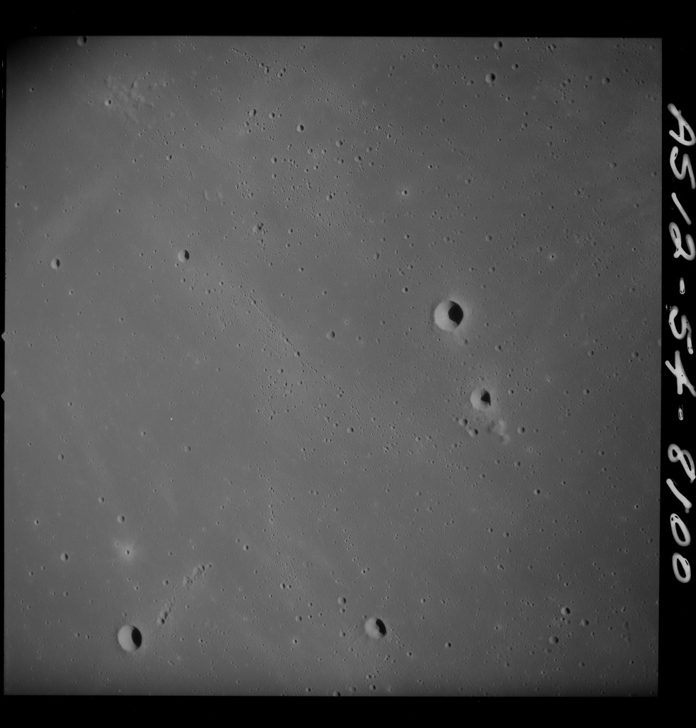 AS12-54-8100 - Apollo 12 - Apollo 12 Mission image  - Near vertical stereo strip view of Crater Kunowsky C