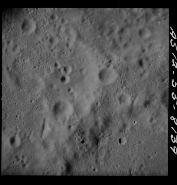 AS12-55-8139 - Apollo 12 - Apollo 12 Mission image  - View Southeast of Crater Wyld and Southwest of Crater Saha