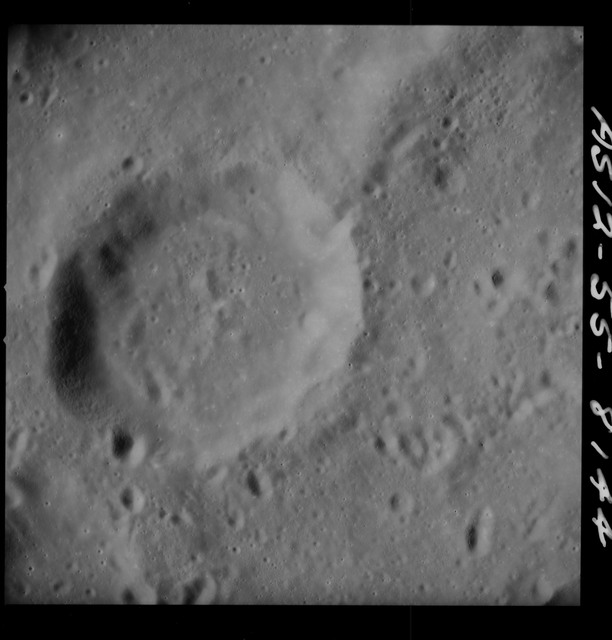 AS12-55-8144 - Apollo 12 - Apollo 12 Mission image  - Southeast of Crater Hirayama, South of Crater Purkynve and southeast section of Crater Hirayama