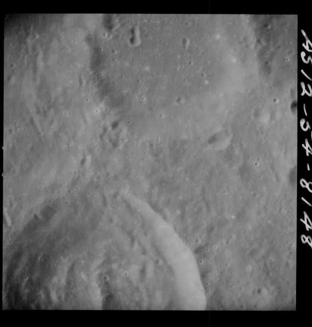 AS12-55-8148 - Apollo 12 - Apollo 12 Mission image  - View of small southwest part of Crater Hirayama