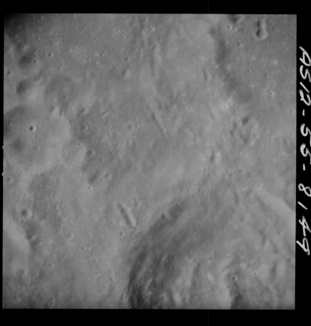 AS12-55-8149 - Apollo 12 - Apollo 12 Mission image  - View Southwest of Crater Hirayama and Southeast of Crater Kiess