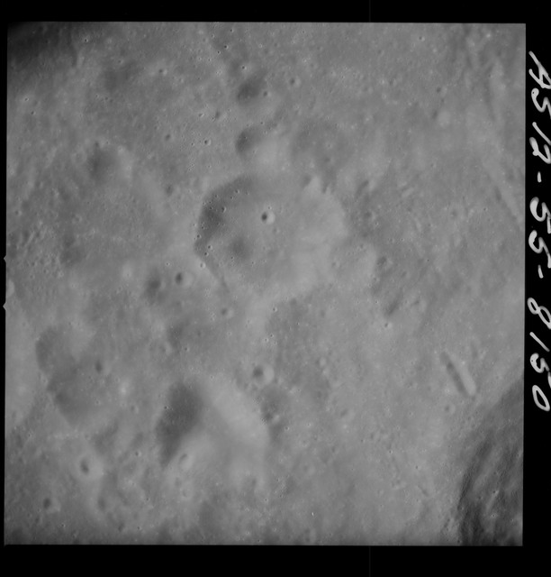 AS12-55-8150 - Apollo 12 - Apollo 12 Mission image  - View Southwest of Crater Hirayama and Southeast of Crater Kiess
