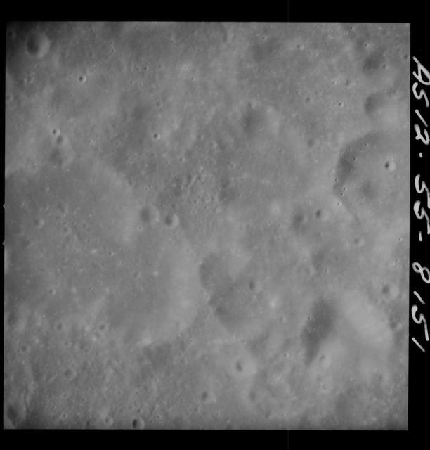 AS12-55-8151 - Apollo 12 - Apollo 12 Mission image  - View Southeast of Crater Kiess and Southwest of Crater Hirayama