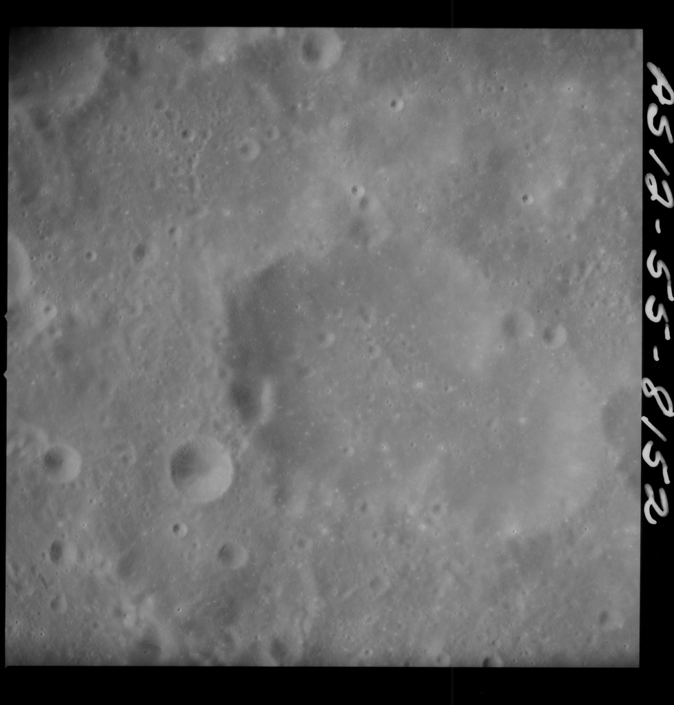 AS12-55-8152 - Apollo 12 - Apollo 12 Mission image  - View Southeast of Crater Kiess and Southwest of Crater Hirayama