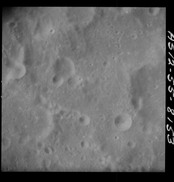 AS12-55-8153 - Apollo 12 - Apollo 12 Mission image  - View Southeast of Crater Kiess and Northwest of unnamed crater Northeast of Gibbs