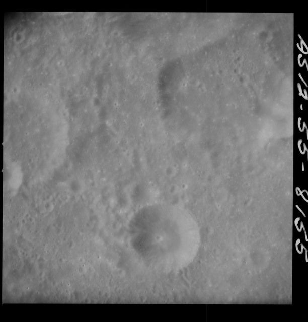 AS12-55-8155 - Apollo 12 - Apollo 12 Mission image  - View South southwest of Crater Kiess and North of Gibbs Crater