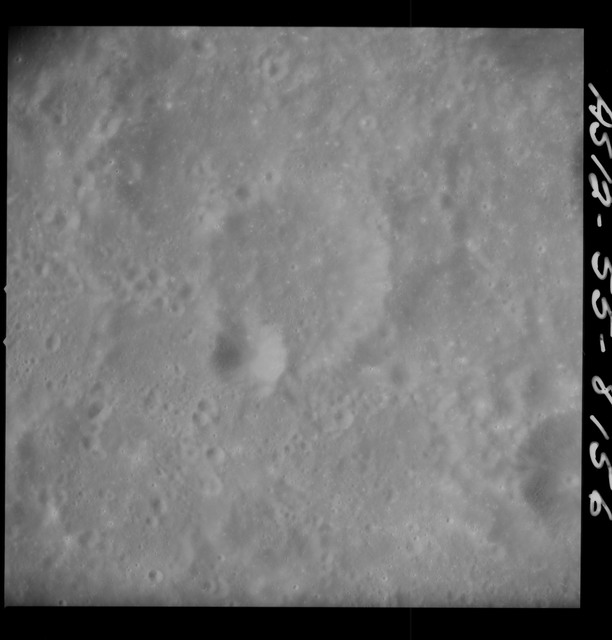 AS12-55-8156 - Apollo 12 - Apollo 12 Mission image  - View Southwest of Crater Kiess and Northeast of Ansgarius Crater
