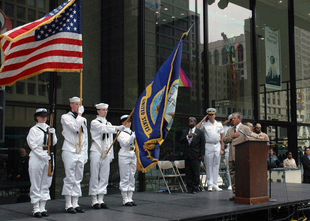 The US Navy (USN) Color Guard from the Great Lakes Navy Technical Training Center presents the Colors in front of Daley Plaza in downtown Chicago, Illinois (IL). City officials presented Navy Recruiting District Commanding Officer, USN Commander (CDR) Shawn Callahan with Mayor Richard Daley's proclamation designating May 15-20 as Navy Week Chicago. Sponsored by the Navy Office of Community Outreach, twenty such weeks are planned this year in cities throughout the Country