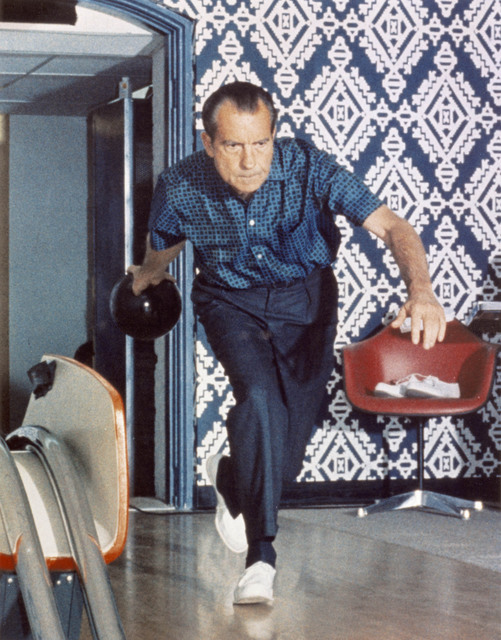 President Richard Nixon Bowling at the White House in 1970