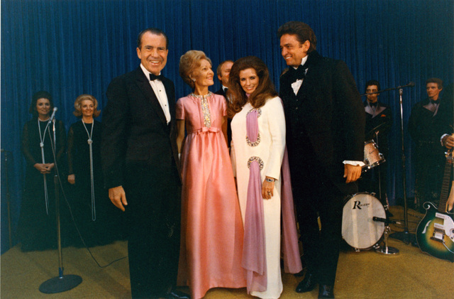 "President Richard Nixon, Pat Nixon, June Carter Cash and Johnny Cash on Stage after the Cashs' ""Evening at the White House"" Concert Performance in the East Room"