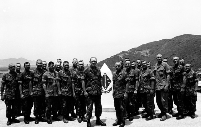 The 1st Marine Division Sergeant Majors with Major General C. F. Widdecke, Commanding General 1st Marine Division